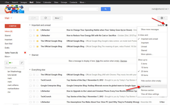 How to Select a Section From Your Gmail Inbox