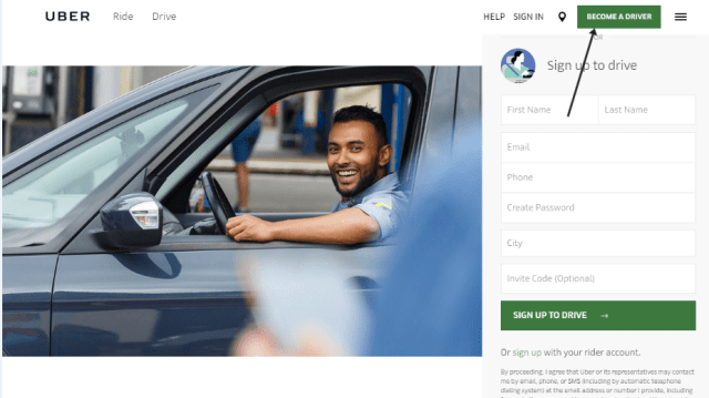 Uber Driver Account Sign Up Page