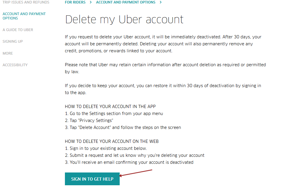 Sign In To Get Help Page Via Uber Account Deletion