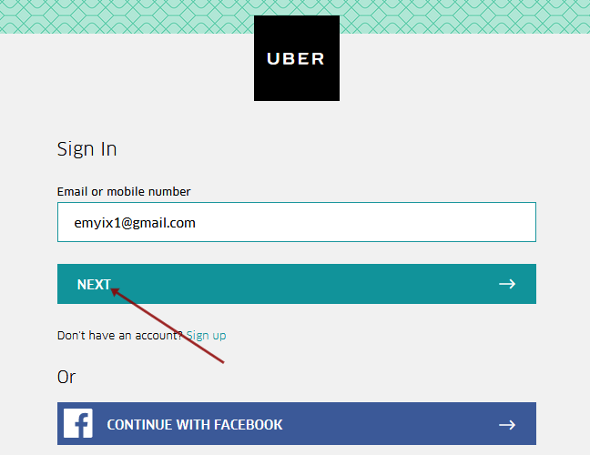 Enter Your Email Address Via Your Uber Account