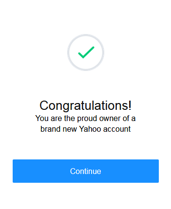 Yahoo Successful Account Creation Page