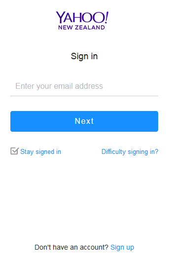 New Zealand Yahoo Account Sign up Page