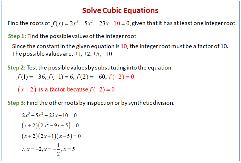 solving cubic equations solutions