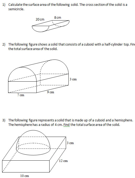 Surface Area Of Solids Worksheets Solutions