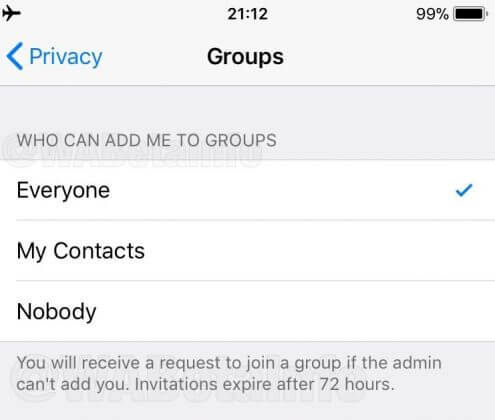 whatsapp group invitation feature