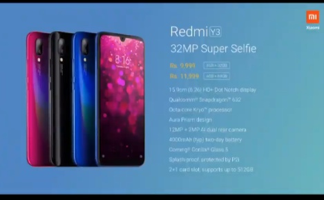 Redmi Y3 price and Spcifications in india