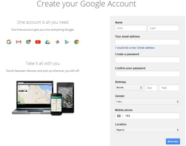 Gmail Account Registration