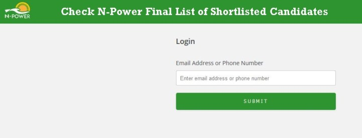 N-Power Final List of Shortlisted Candidates