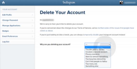 delete an instagram account