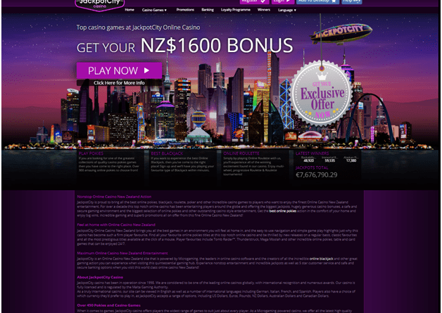 Jackpot City casino nz