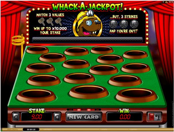 Whack a Jackpot Scratch card game