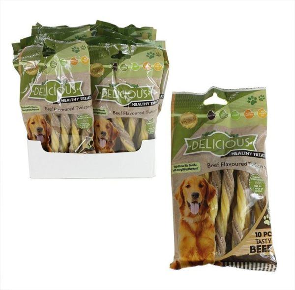 Natural Healthy Dog Treats Meaty Beef Flavoured Twists Dog Chews