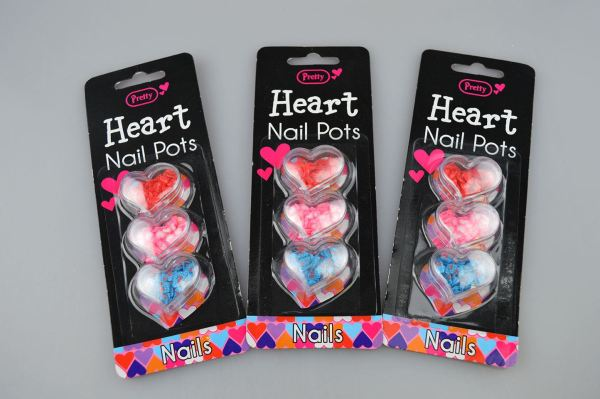 Nail Pot Art Hearts Pack of 3 Nail Accessories Manicure Pink Red Blue Love