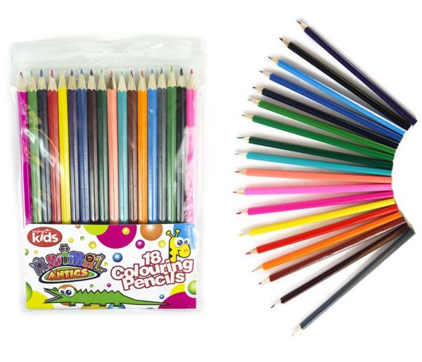 Coloured Pencils School Stationery Kids Art Colouring Pack of 18
