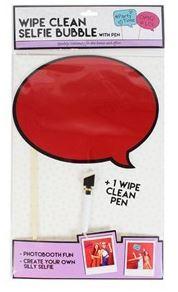 Dry Erase Selfie Board Wipe Clean Speech Bubble Photo Prop Red