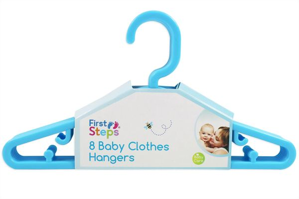 Pack of 8 Plastic Baby Clothes Hangers - Blue