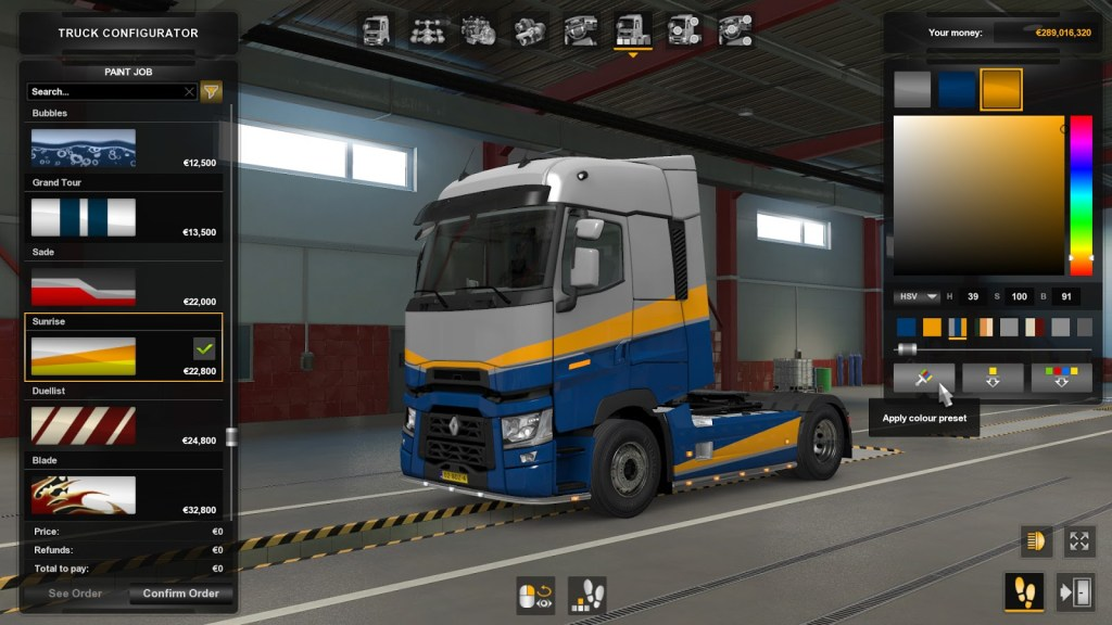 Picking colours is easier for your truck now in Euro Truck Simulator 2 Open Beta 1.38