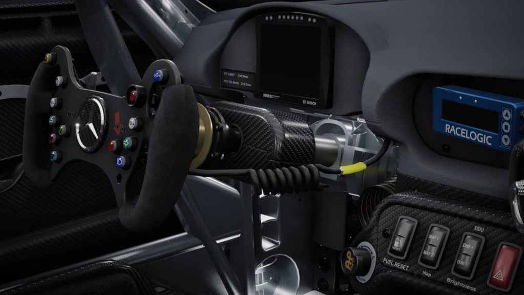 The interior of the Mercedes AMG GT4 in Assetto Corsa Competizione