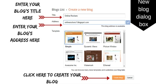 Create a new blog at Blogger