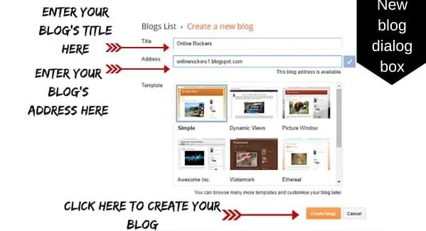 Create a new blog at Blogger