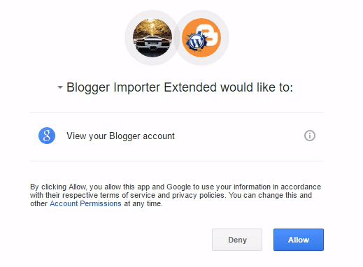 Authorize access for Blogger Importer Extended WordPress Plugin