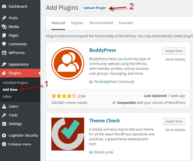 Wordpress plugin upload in Dashboard