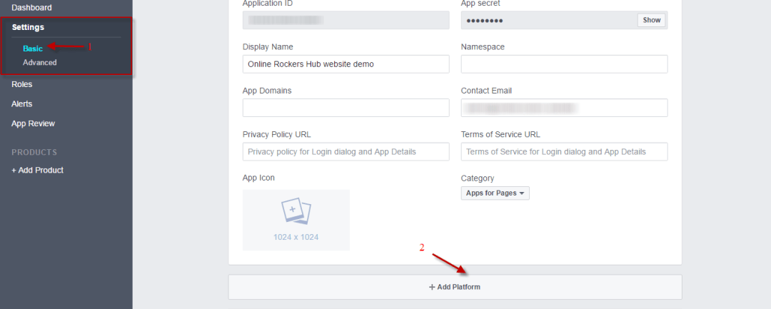 Choose platform under basic settings in facebook app developers page