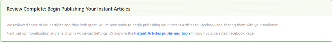 Successful review for facebook instant articles