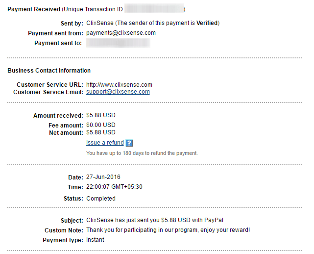 Clixsense payment proof on 27th June 2016