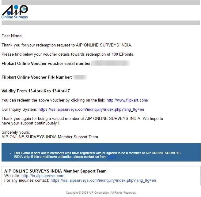 aip online surveys payment proof
