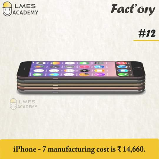 #12 iPhone-7 manufacturing cost is ₹ 14,660.