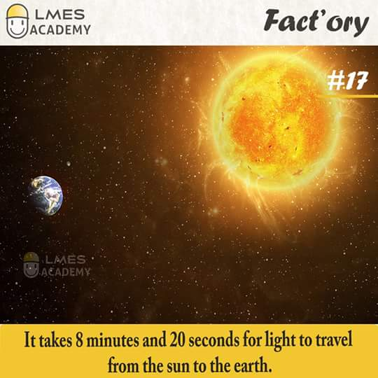 #17 It takes 8 minutes and 20 seconds for light to travel from the sun to the earth.