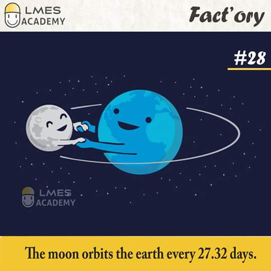 #28 The moon orbits the earth every 27.32 days.