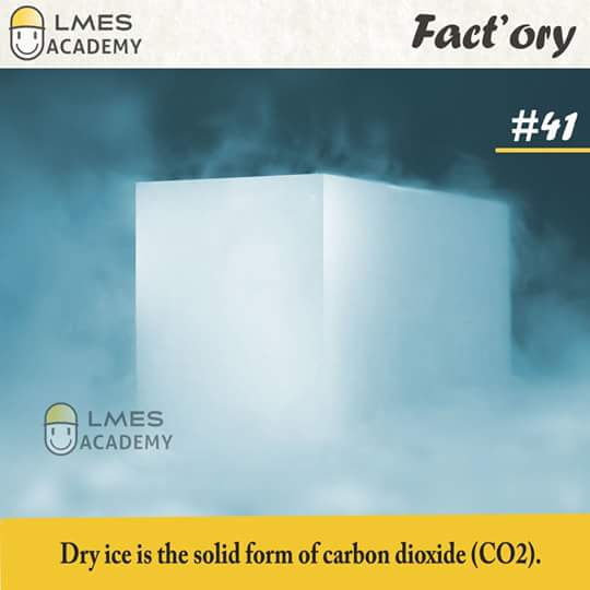#41 Dry ice is the solid form of carbon dioxide (CO2).