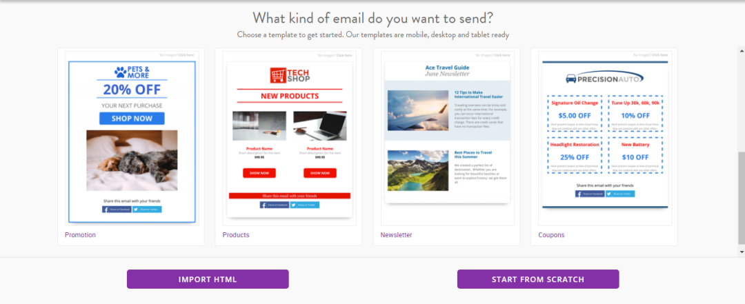 Beautiful email templates in VerticalResponse