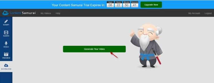 Download your video in Content Samurai