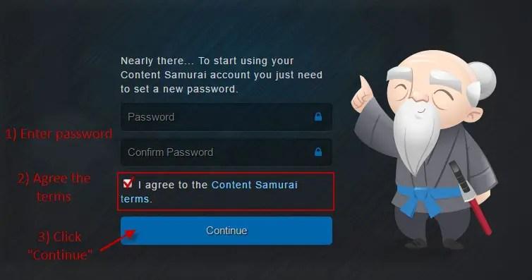 set password in content samurai
