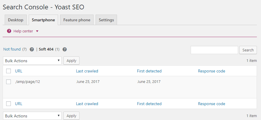 Search Console menu in Yoast SEO plugin