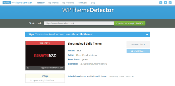 ShoutMeLoud Theme detected by WPThemeDetector
