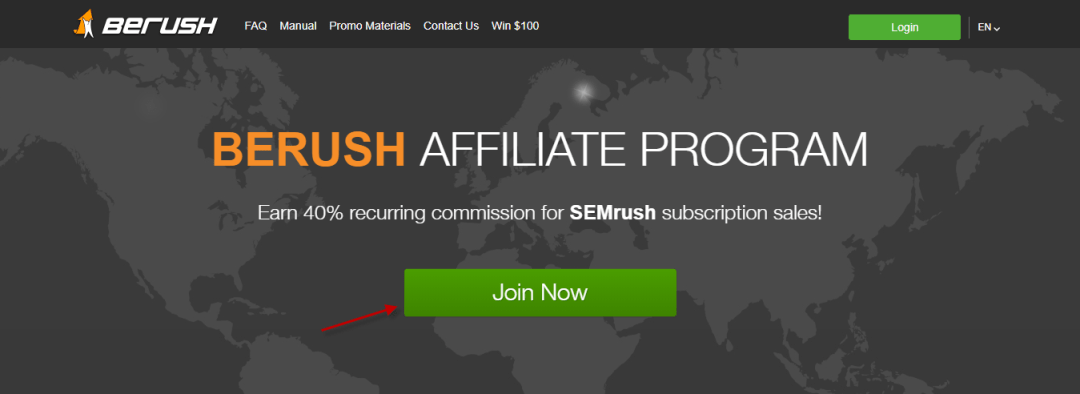 Click Join Now in BeRush Homepage