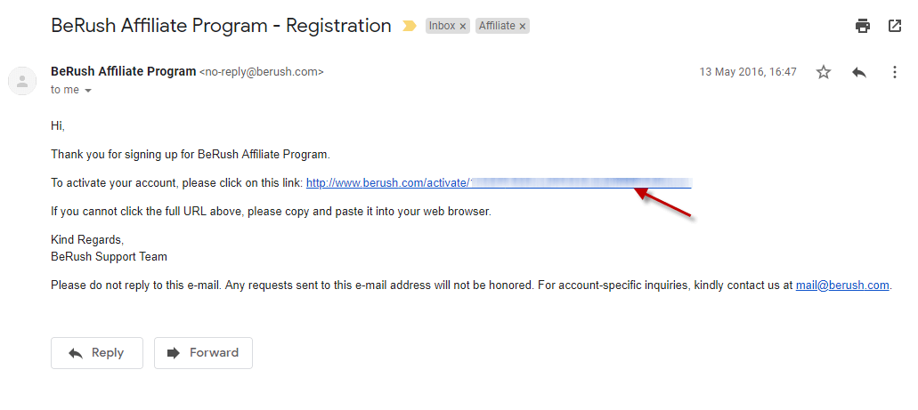 Click the activation link in BeRush account Verification Email