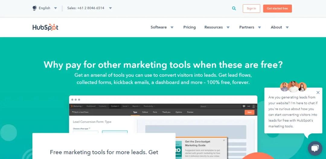Hubspot Marketing Free Homepage