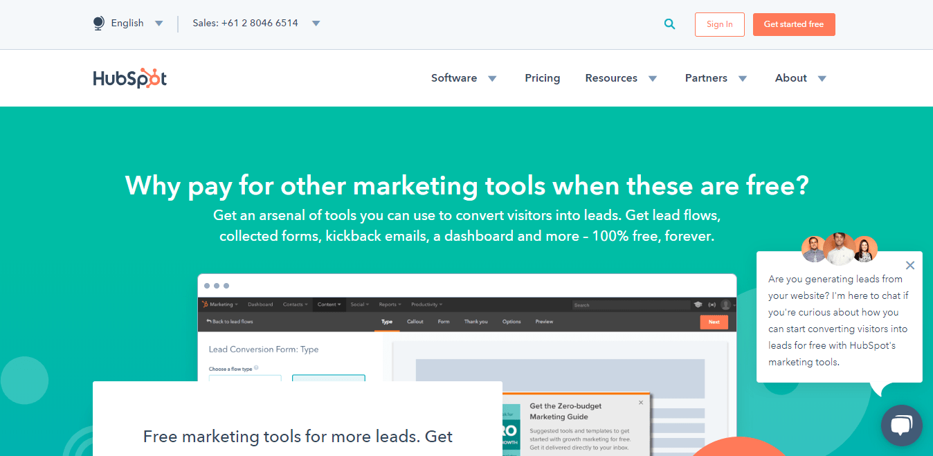 Hubspot Marketing Free Homepage