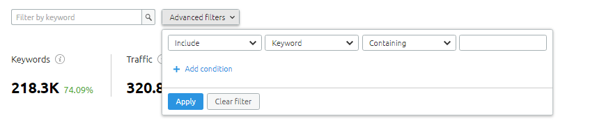 Filters and advanced filters option available at Positions section in SEMRush Organic Research Tool