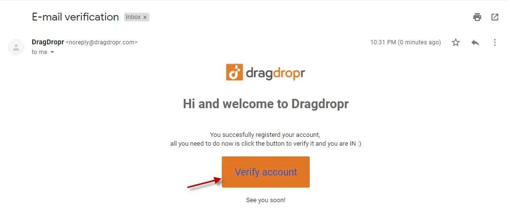 Dragdropr verification email