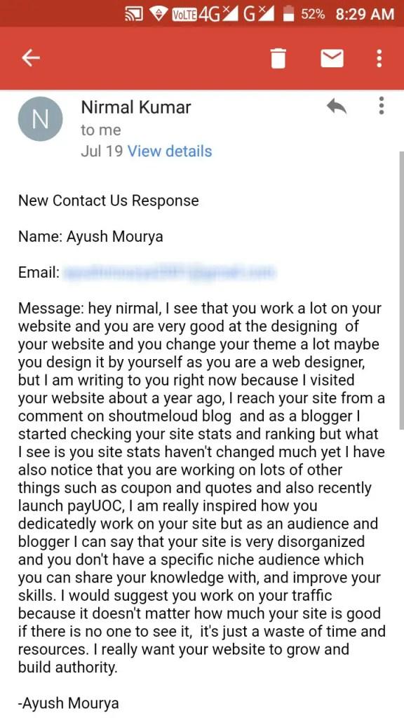 Feedback from Ayush Mourya