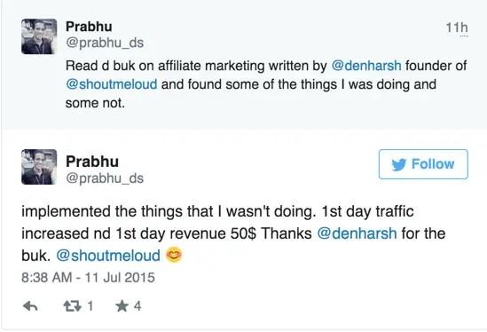Affiliate Marketing eBook Testimonial by Prabhu