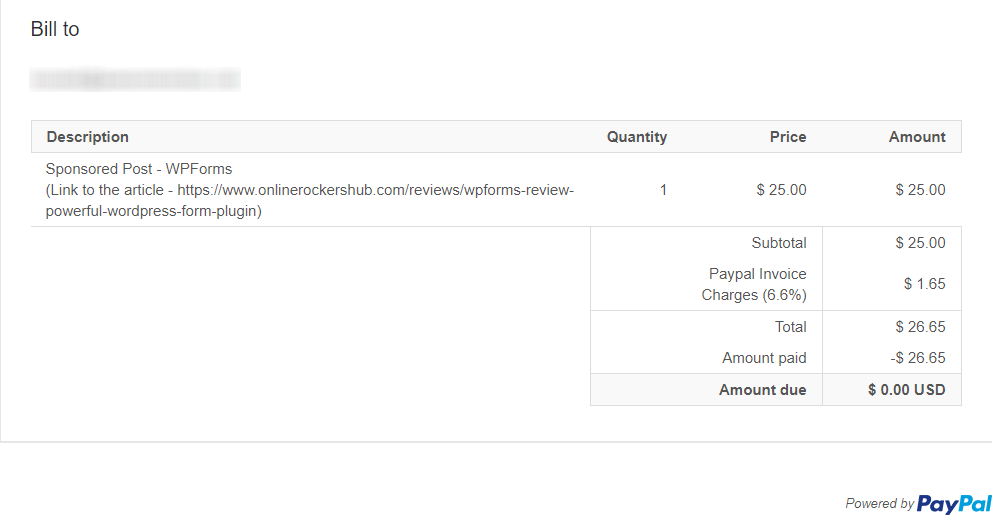 WPForms Review Sponsored Post Payment Proof
