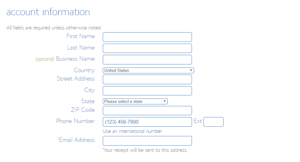 Enter your BlueHost account details