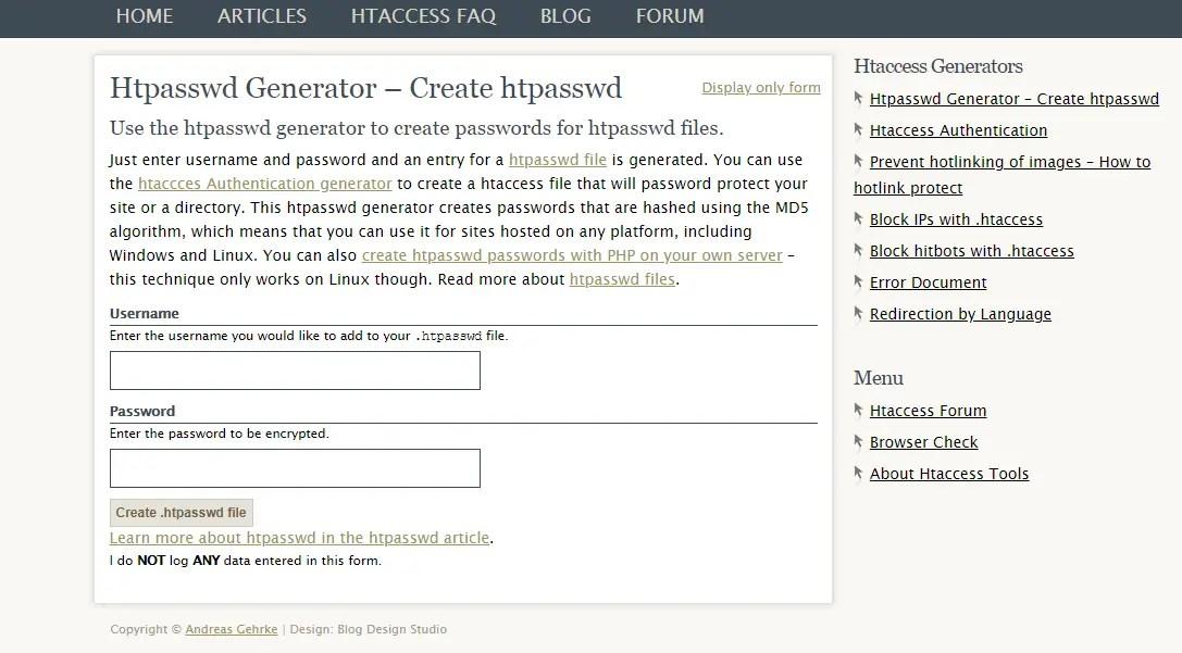 htpassword generator